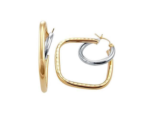 Hoop Earrings 14k White Yellow Gold Huggie Fashion