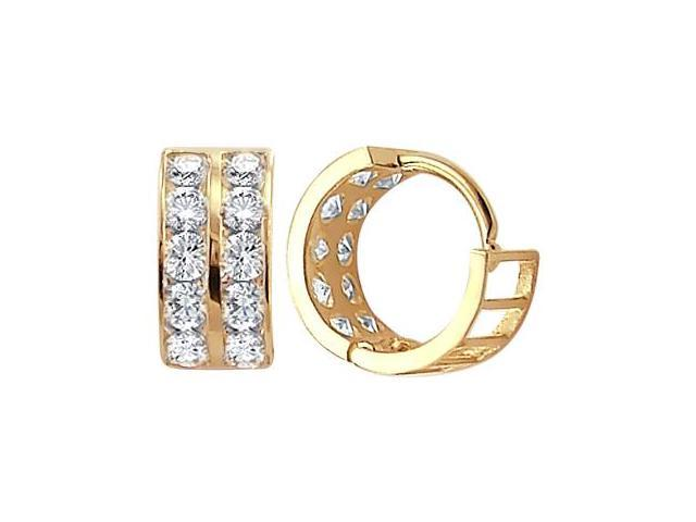 14k Yellow Gold Hoop Earrings Round Cz Cubic Zirconia Huggie Men