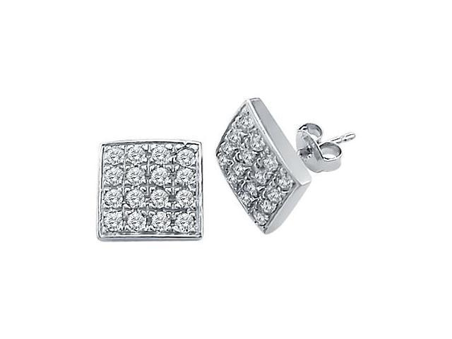 CZ Stud Earrings 14k White Gold Square Round Cubic Zirconia Men Ladies