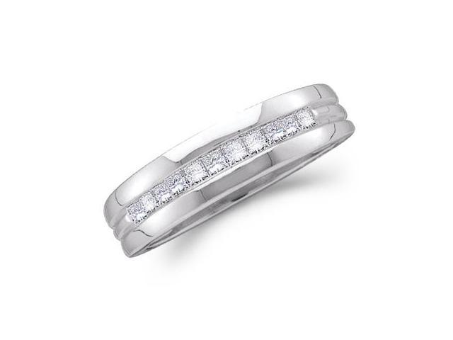 Men's Princess Diamond Wedding Ring 14k White Gold Band (0.50 Carat)