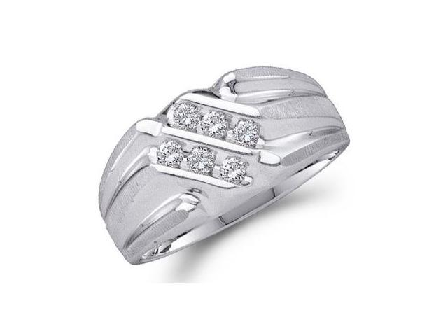 Men's Diamond Wedding Ring 10k White Gold Anniversary Band (1/4 Carat)