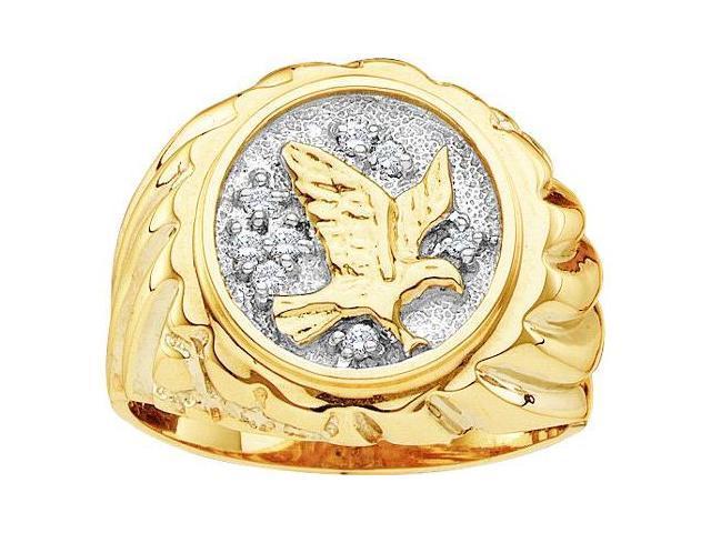 Mens Diamond Eagle Ring 10k Yellow Gold Band Genuine (0.10 Carat)