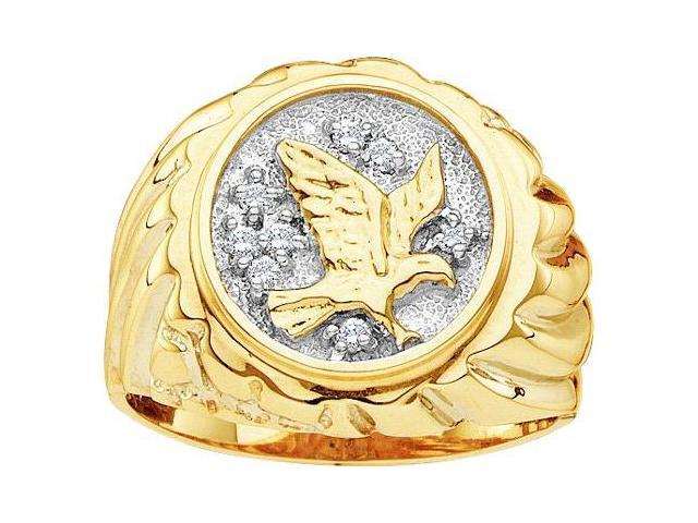 Mens Diamond Eagle Ring 10k Yellow Gold Band Genuine (0.10 Carat)