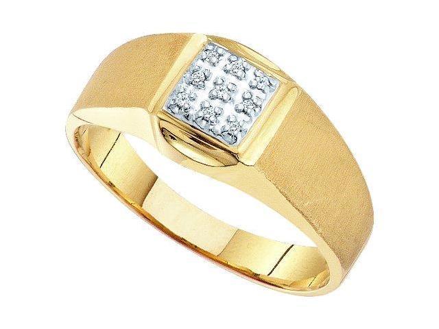 Men's Diamond Ring Pinky 10k White Yellow Gold Anniversary Band
