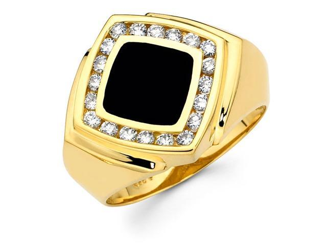 Mens Black Onyx Diamond Ring 14k Yellow Gold Band (0.62 Carat)