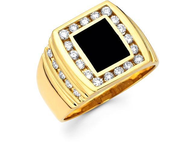 Mens Black Onyx Diamond Ring 14k Yellow Gold Anniversary Band (1/3 CT)