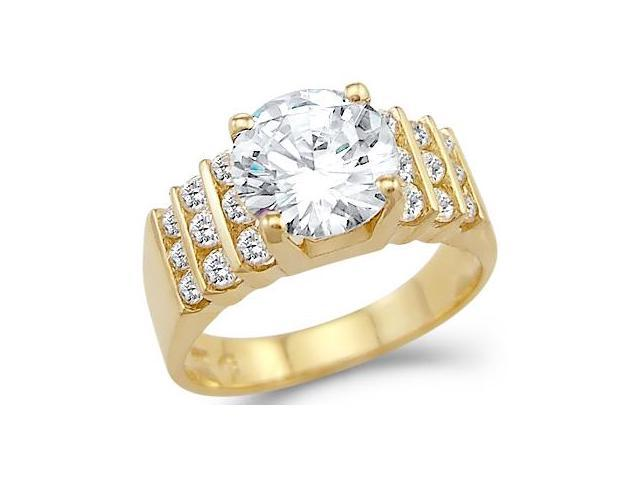 CZ Engagement Ring Solitaire 14k Yellow Gold Anniversary (3.00 Carat)