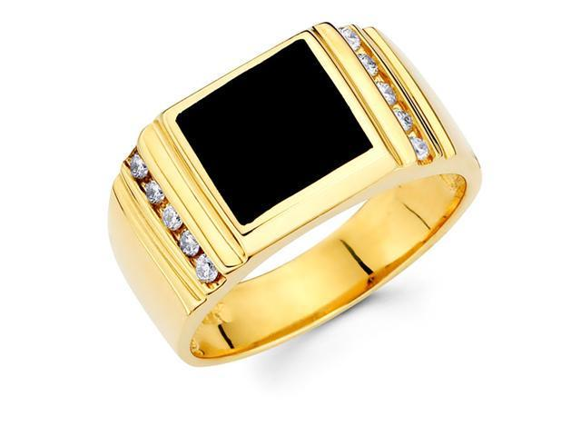 Mens Black Onyx Diamond Anniversary Ring 14k Yellow Gold (1/5 Carat)