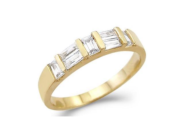CZ Wedding Band 14k Yellow Gold Cubic Zirconia Anniversary Ring 1 CT