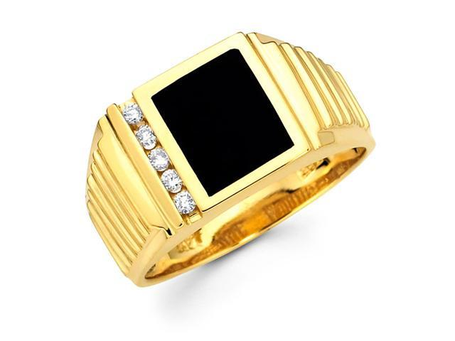 Mens Black Onyx Diamond Pinky Ring 14k Yellow Gold Band (1/10 Carat)
