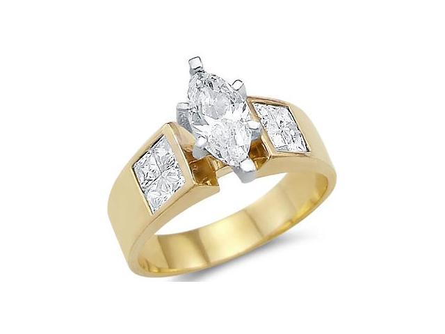 CZ Marquise Engagement Ring 14k Yellow Gold Anniversary (1.50 Carat)