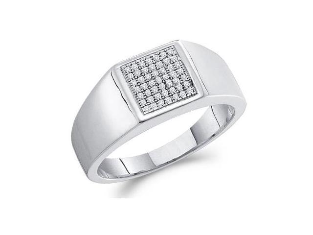 Men's Diamond Wedding Ring 10k White Gold Anniversary Band (0.15 CT)
