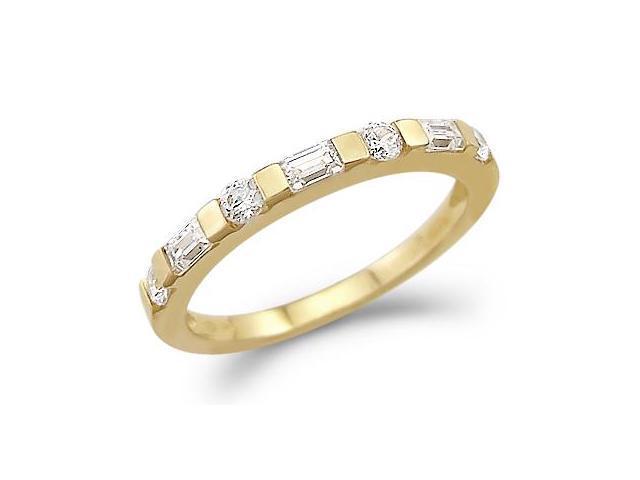 CZ Wedding Ring 14k Yellow Gold Cubic Zirconia Anniversary Band 1 CT