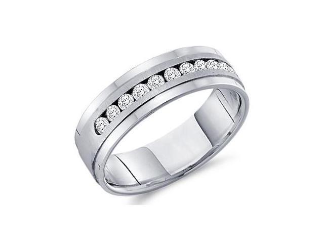 .28CT Mens Diamond Ring Wedding Band 14k White Gold New