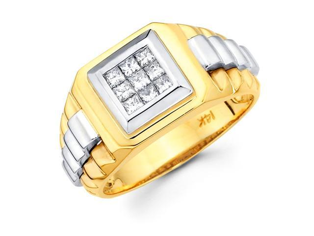 Mens Diamond Anniversary Ring 14k Multi Tone Gold Rolex Band (0.44 CT)