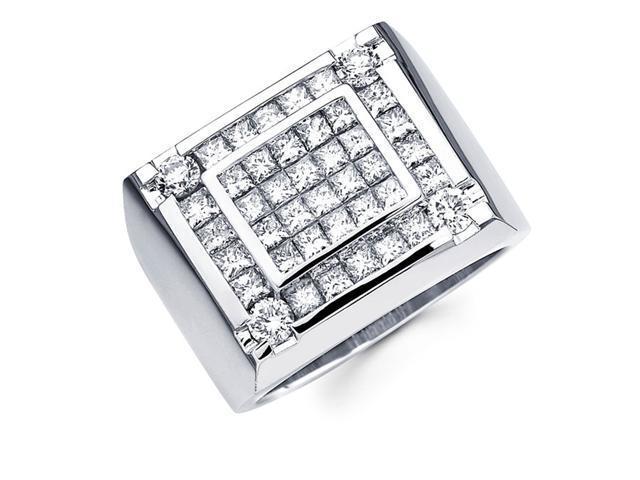 Mens Princess Diamond Anniversary Ring 14k White Gold Band (2.92 CTW)