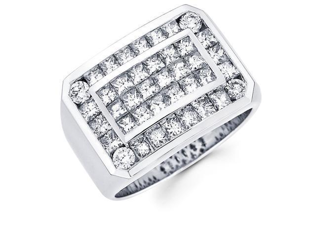Mens Princess Diamond Anniversary Ring 14k White Gold Band (3.45 CTW)