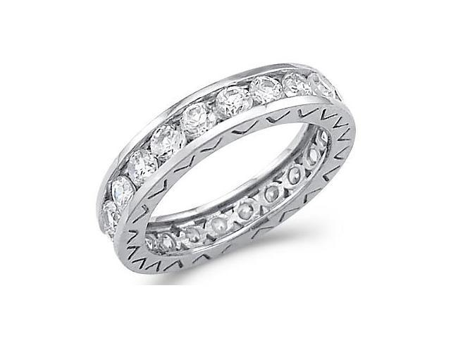 Eternity Wedding Ring CZ 14k White Gold Anniversary Band (1.00 Carat)