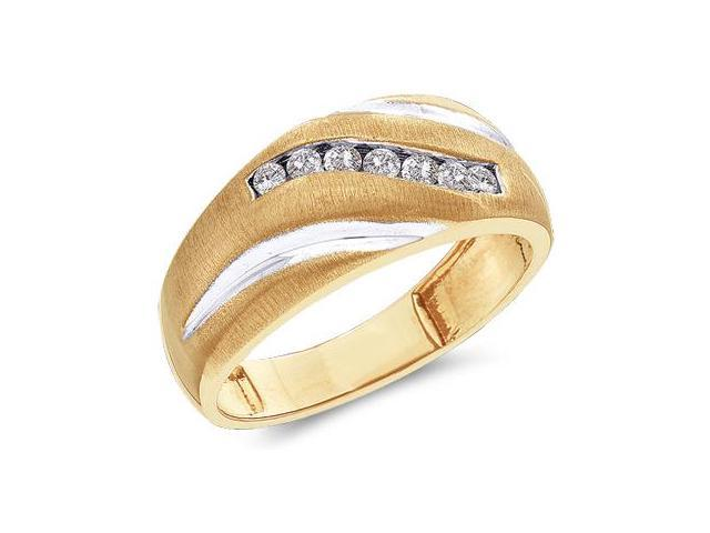 Mens Diamond Wedding Ring 10k Yellow Gold Engagement Band (0.27 Carat)