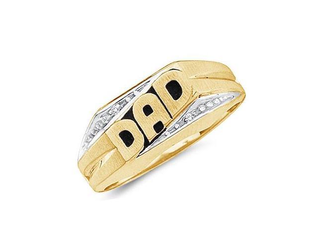 Men's Diamond DAD Ring Fathers Band 10k Yellow Gold