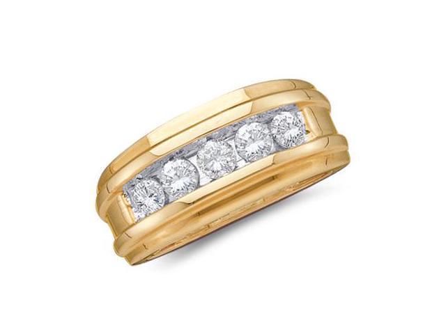 Mens Diamond Wedding Band 14k Yellow Gold Engagement Ring (0.25 Carat)