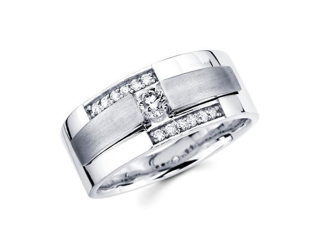 Mens Diamond Wedding Ring 14k White Gold Engagement Band (3/8 Carat)