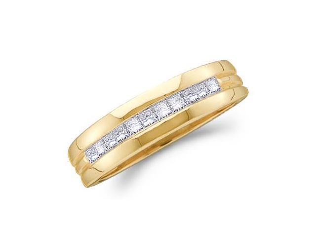 Men's Princess Diamond Wedding Ring 14k Yellow Gold Band (0.50 Carat)