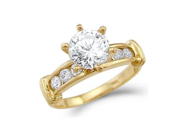 Round Cubic Zirconia Engagement Ring Solitaire 14k Yellow Gold Bridal