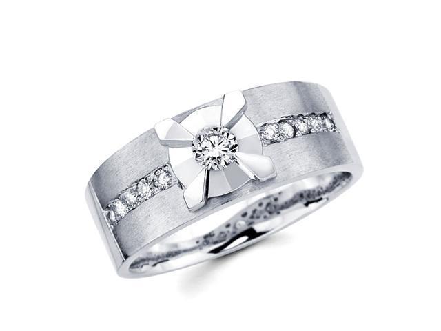 Mens Diamond Wedding Band 14k White Gold Anniversary Ring (0.44 Carat)