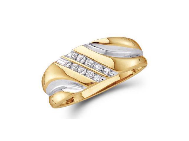 Mens Diamond Wedding Ring 10k Yellow Gold Engagement Band (0.12 Carat)