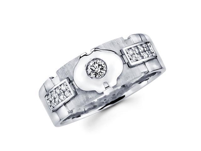 Mens Round Diamond Wedding Band 14k White Gold Ring (1/3 Carat)