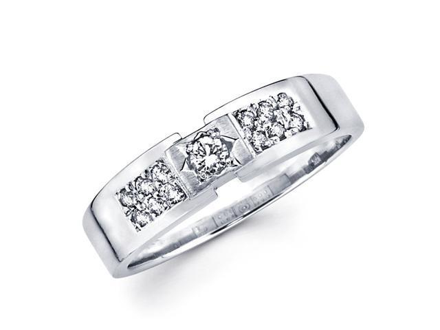 Mens Diamond Wedding Band 14k White Gold Anniversary Ring (1/4 Carat)