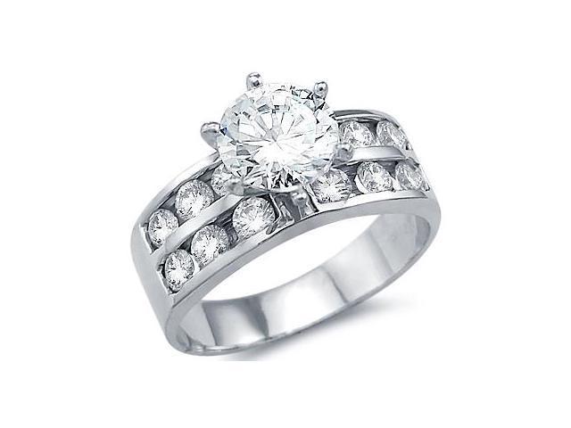 CZ Engagement Ring 14k White Gold Bridal Cubic Zirconia (2.50 Carat)