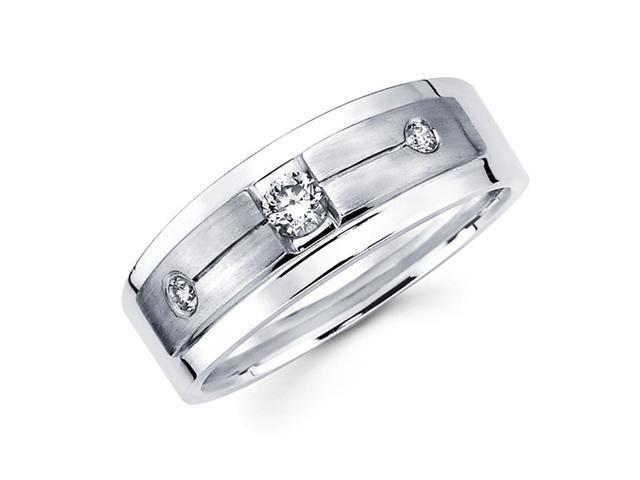 Mens Diamond Wedding Band 14k White Gold Engagement Ring (1/4 Carat)