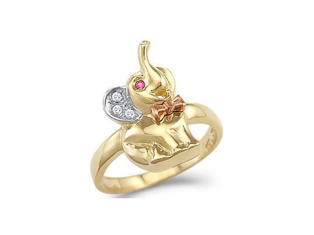 CZ Baby Elephant Ring 14k Yellow Gold Animal Band Cubic Zirconia 1/4ct
