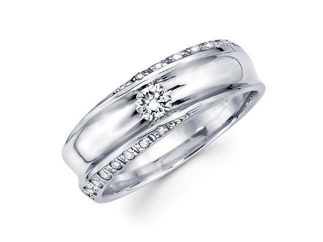 Round Diamond Wedding Band 14k White Gold Anniversary Ring (0.45 CTW)