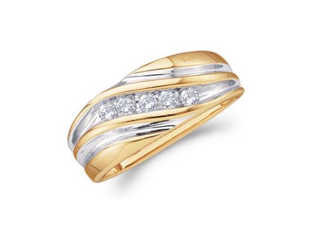 Mens Diamond Wedding Band 14k Yellow Gold Engagement Ring (1/4 Carat)