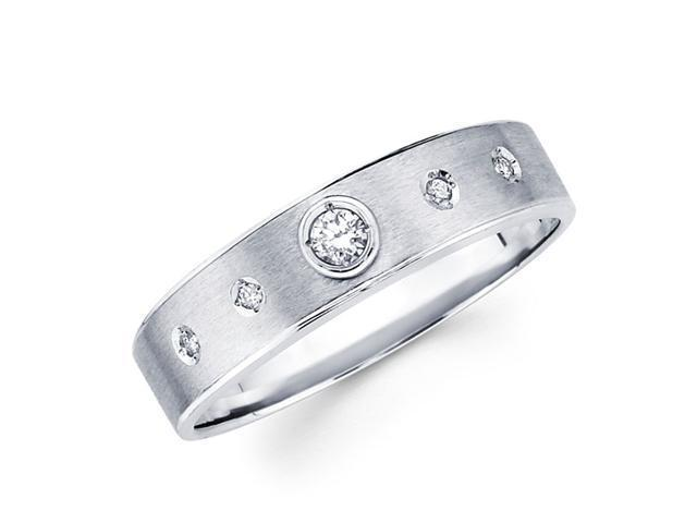 Mens Diamond Wedding Band 14k White Gold Anniversary Ring (1/10 Carat)