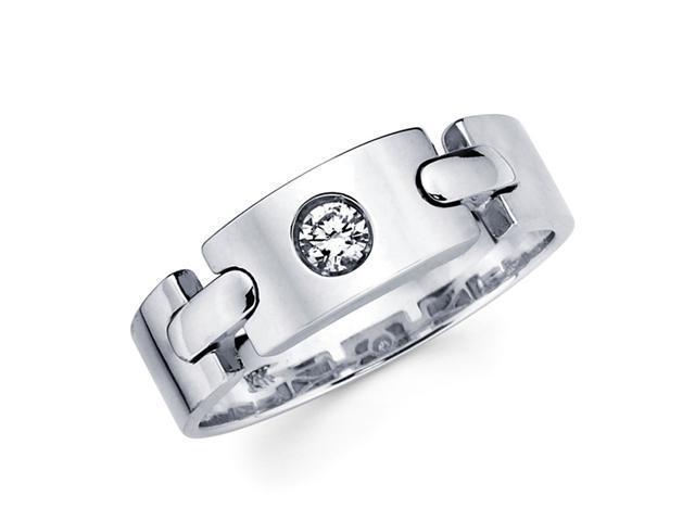 Mens Solitaire Diamond Wedding Ring 14k White Gold Band (1/7 Carat)