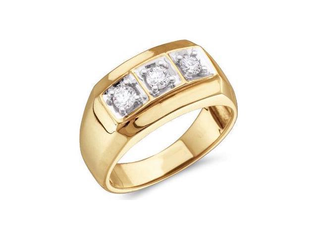 Mens Three Stone Diamond Ring Wedding Band 10k Yellow Gold 1 2 Carat
