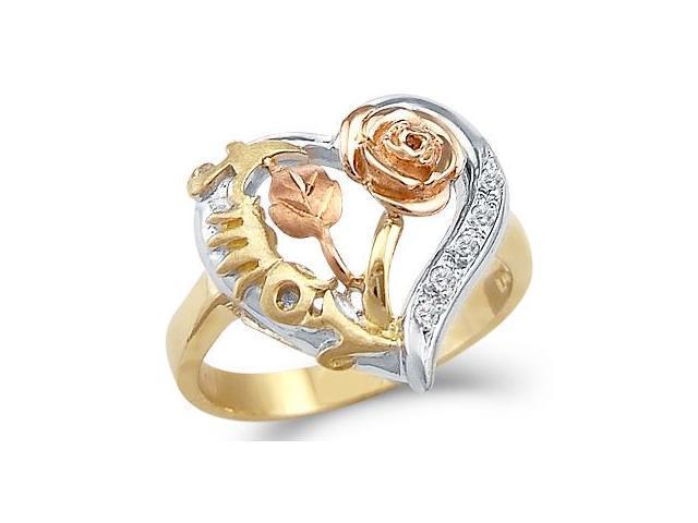 Flower Love Heart Ring CZ 14k White Yellow Gold Cubic Zirconia 1/4 CT