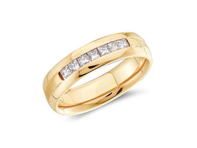 Men's Princess Diamond Wedding Ring 14k Yellow Gold Band (0.53 Carat)