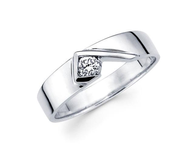 Mens Solitaire Diamond Wedding Band 14k White Gold Ring (1/5 Carat)
