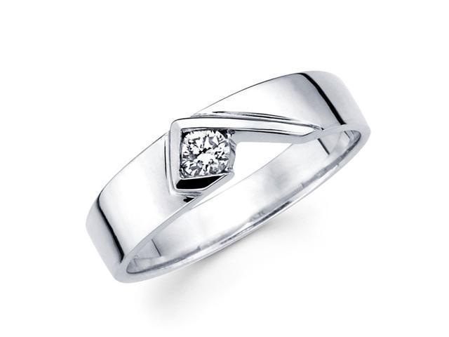 Mens Solitaire Diamond Wedding Band 14k White Gold Ring (1/5 Carat)