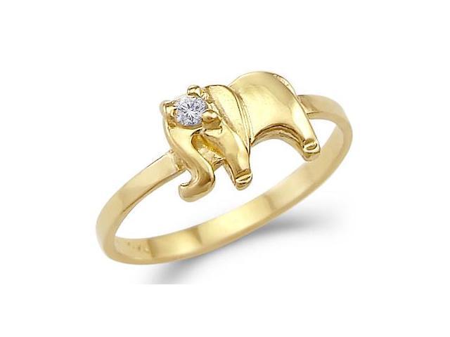 CZ Elephant Ring 14k Yellow Gold Band Cubic Zirconia (1/10 Carat)