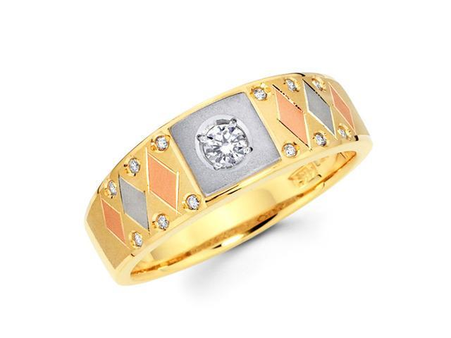 Men's Diamond Wedding Band 14k Multi-Tone Gold Ring (1/4 Carat)