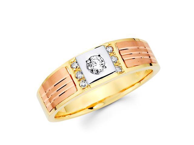 Men's Diamond Wedding Ring 14k Multi-Tone Gold Band (1/5 Carat)