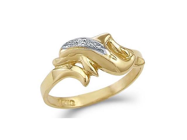 Fish Dolphin Ring CZ 14k Yellow Gold Band Cubic Zirconia
