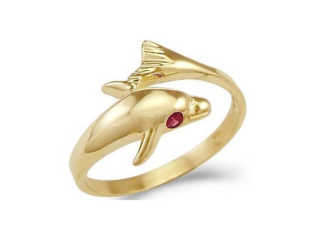 Dolphin Red Ruby Eye Ladies Ring 14k Yellow Gold Band