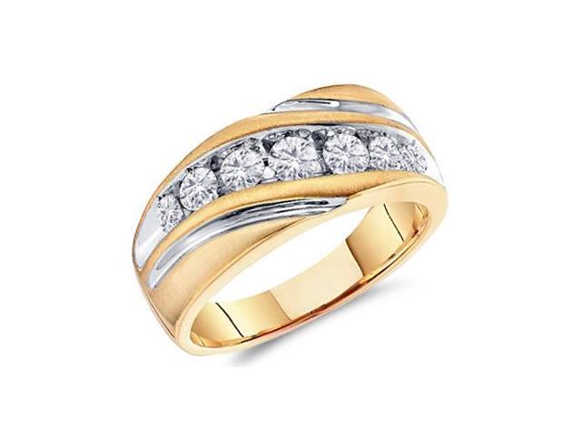 Men Diamond Wedding Ring 10k White Yellow Gold Engagement Band (1 CT)